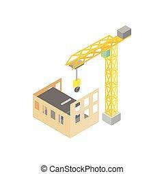 等大, 家, スタイル, 建設, アイコン, タワークレーン, 3d