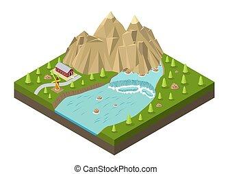 等大, 木, 滝, 山, 家, 川