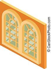 等大, 窓, アイコン, スタイル, 宮殿