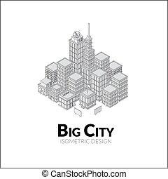等大, 航空写真, アウトライン, 都市, 大きい, イラスト, 影, デザイン, 光景