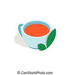 等大, 葉, カップ, お茶, スタイル, アイコン, ミント, 3d