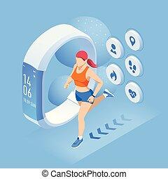等大, 運動選手, フィットネス, ブレスレット, 動くこと, ジョッギング, 追跡者, infographics, outdoors., smartphone, ∥あるいは∥
