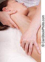 筋肉, 首, 女性, 延長, セラピスト, マッサージ