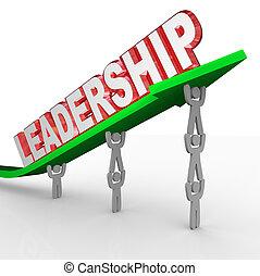 管理, 単語, リーダーシップ, 持ち上がること, 矢, チーム, ビジョン