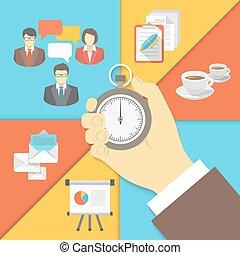 管理, 概念, ビジネス, 時間