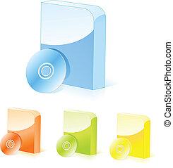 箱, ソフトウェア, 多彩, cd