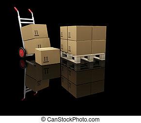 箱, トラック, 手