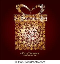 箱, ブラウン, 作られた, 陽気, 金, 願い, 雪片, 贈り物, イラスト, 年, ベクトル, 背景, 新しい, クリスマスカード, 幸せ