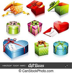 箱, ベクトル, set:, 贈り物