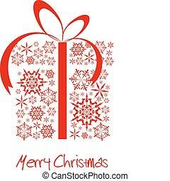 箱, 作られた, 雪片, 赤, クリスマスプレゼント