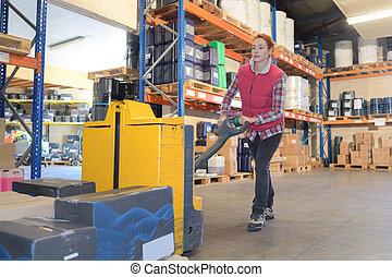 箱, 倉庫, 届く, 労働者, 女性