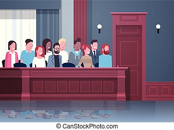 箱, 内部, モデル, 人々, レース, 陪審, 肖像画, 混合, 法廷, 法廷, 横, 裁判, セッション, 判断, 現代, プロセス