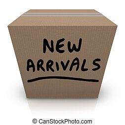 箱, 到着, プロダクト, 新しい, ボール紙, 商品, 最も遅く