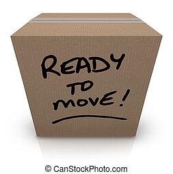 箱, 動きなさい, 再配置, 引っ越し, 準備ができた, ボール紙