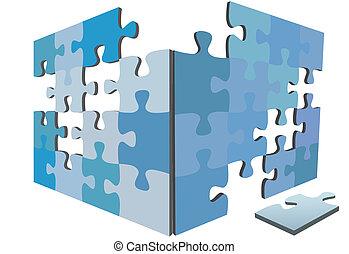 箱, 困惑, 解決, igsaw, 小片, 小片, 側, 3d