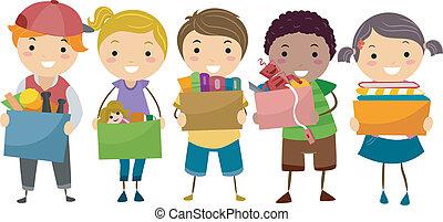 箱, 子供, stickman, 寄付, フルである, おもちゃ