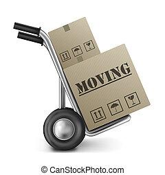 箱, 引っ越し, ボール紙, トラック, 手