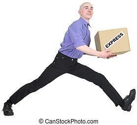 箱, 急ぎ, 渡しなさい, 人