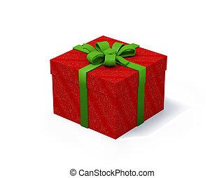 箱, 白, プレゼント, 背景, 赤