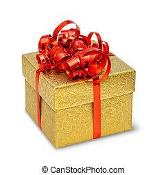 箱, 金, 絹のようである, 装飾, 弓, プレゼント, ブロケード, 赤
