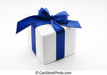 箱, 青, 白いリボン, 贈り物