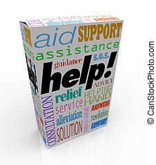 箱, 顧客, プロダクト, 助け, 援助, 言葉, サポート