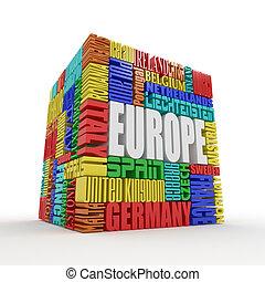 箱, europe., 名前, ヨーロッパ, 国