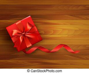 箱, illustration., 贈り物, bow., ベクトル, 背景, 休日, 赤