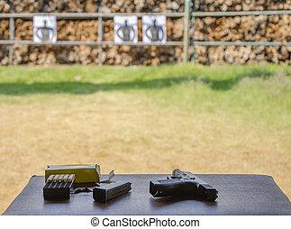 範囲, 屋外, 射撃目標, 銃