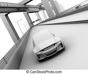 粘土, レンダリング, モデル自動車, self-driving, ハイウェー