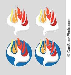 精神, ロゴ, 火, 神聖
