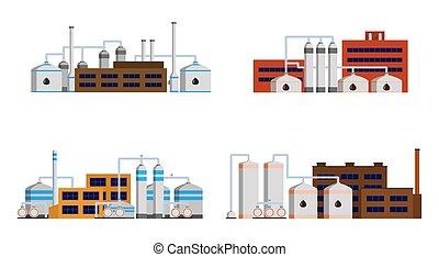 精製所, 産業, オイル, 建物。