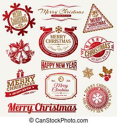 紋章, ラベル, クリスマス, ホリデー, &