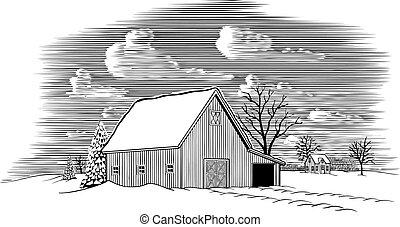 納屋, 現場, 冬