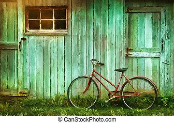 納屋, 絵, デジタル, 古い, に対して, 自転車