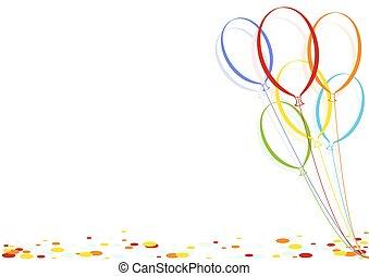 紙ふぶき, パーティー, 風船, 有色人種