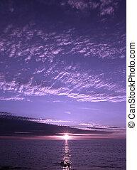 紫色の日没