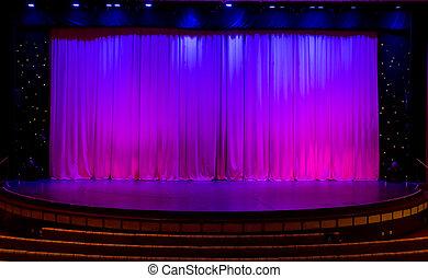 紫色, カーテン, ステージ