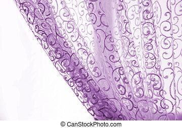 紫色, カーテン, 白い背景