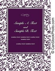 紫色, フレーム, ベクトル, 招待