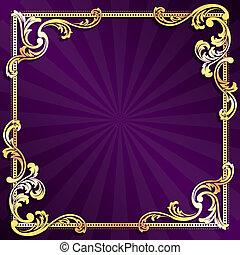 紫色, フレーム, 金