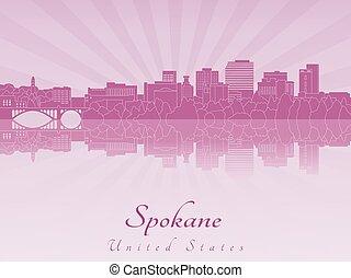 紫色, 放射, spokane, スカイライン, 蘭