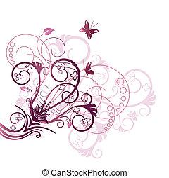 紫色, 花, コーナー, デザイン要素