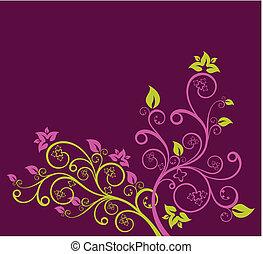 紫色, 花, ベクトル, 緑, イラスト