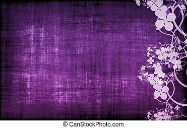 紫色, 花, 装飾, グランジ