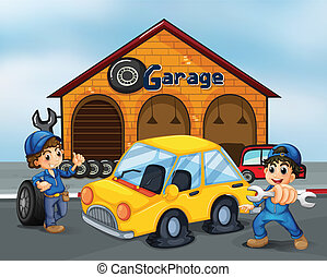 紳士, ガレージ, 道具, 2