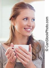 終わり, カップ, 微笑, の上, お茶, 女