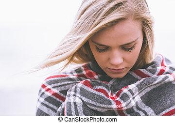 終わり, 毛布, 包み隠された, 女, 若い