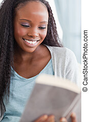 終わり, 読む本, の上, 女
