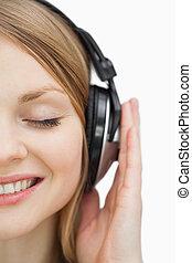 終わり, 音楽, の上, 女, 聞くこと